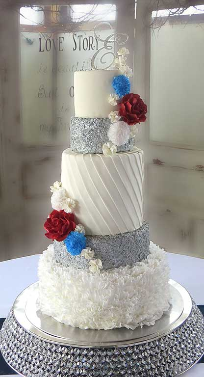 ruffles sequins bling wedding cake