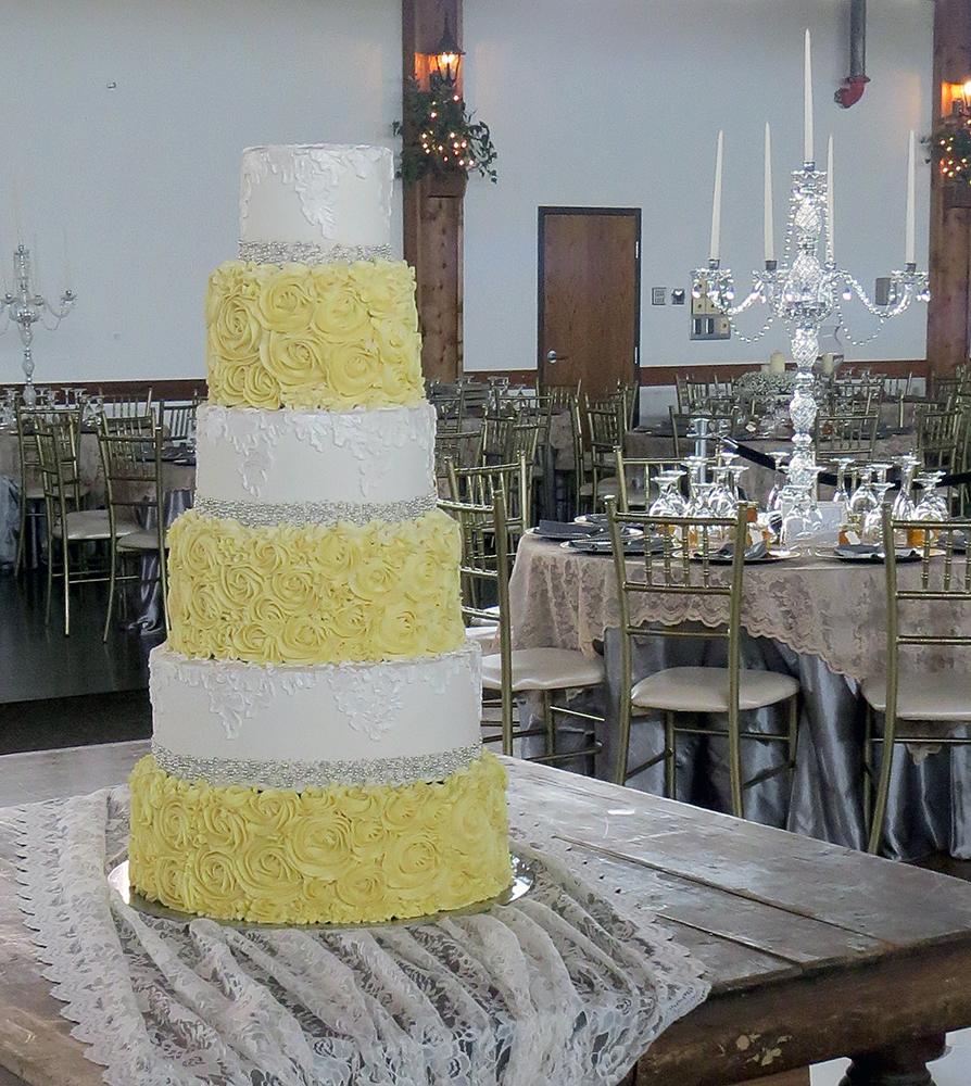 yellow rosettes lace bling wedding cake