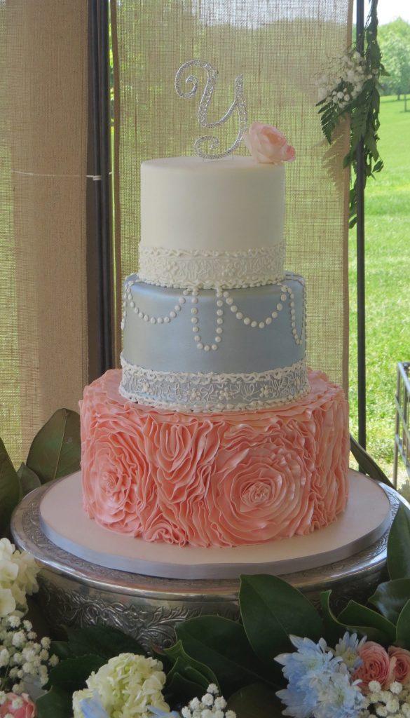 Blush Pink Silver Elegant Wedding Cake