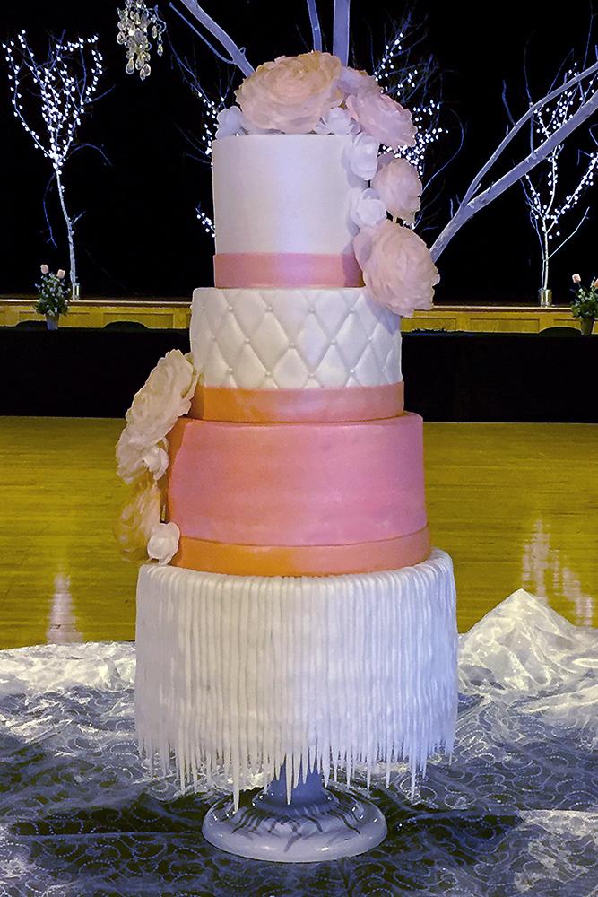 Coral Parfait Wedding Cake