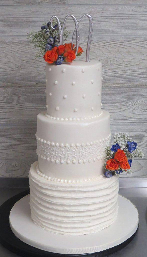 Elegant Pearls Lace Wedding Cake