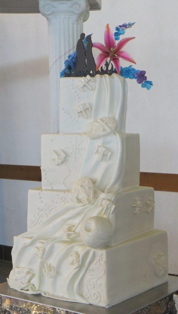 Elegant Star Wars Themed Wedding Cake