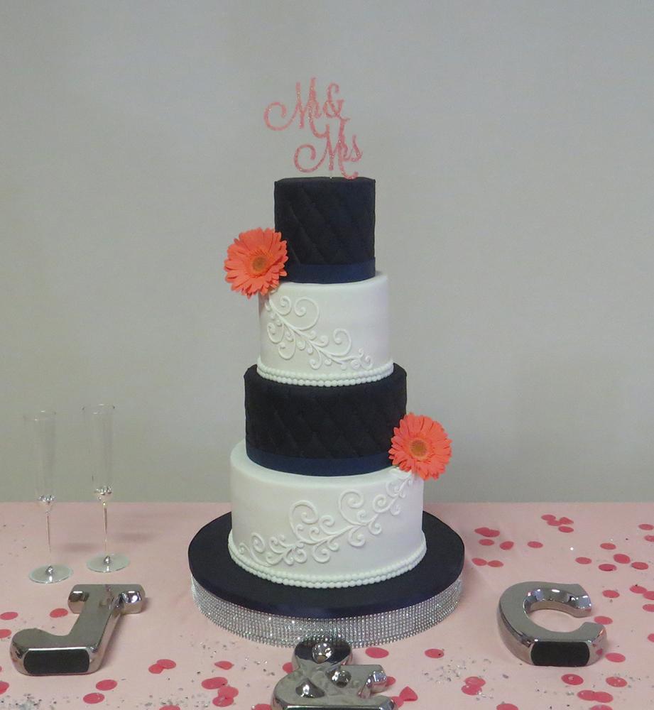 Navy White Coral Wedding Cake