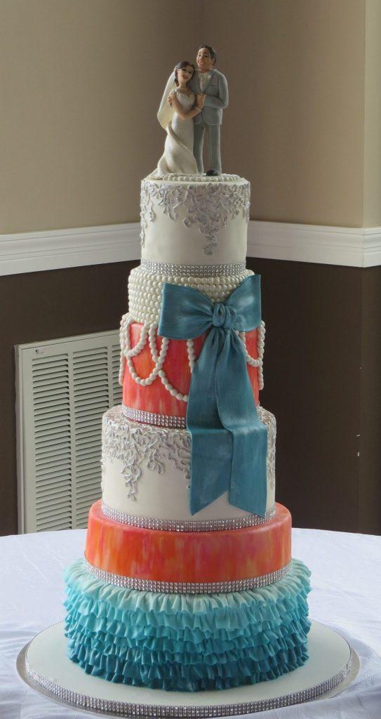 Pink Orange Teal Bling Pearls Lace Wedding Cake