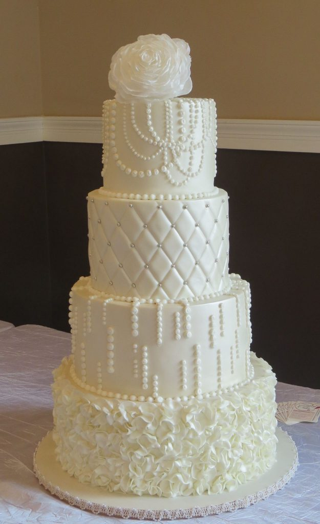 Ruffles Pearls Bling Wedding Cake