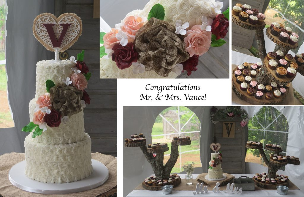 Rustic Buttercream Wedding Cake Red Blush Collage