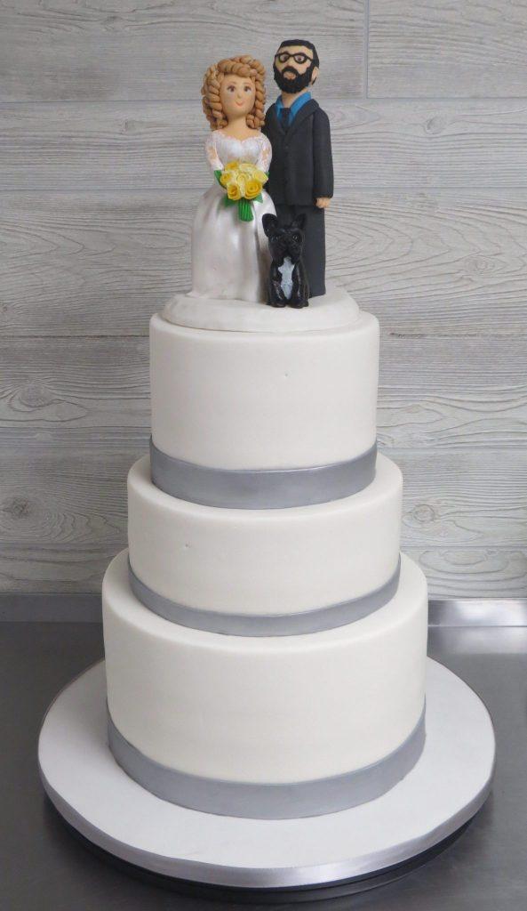 Silver White Simple Wedding Cake