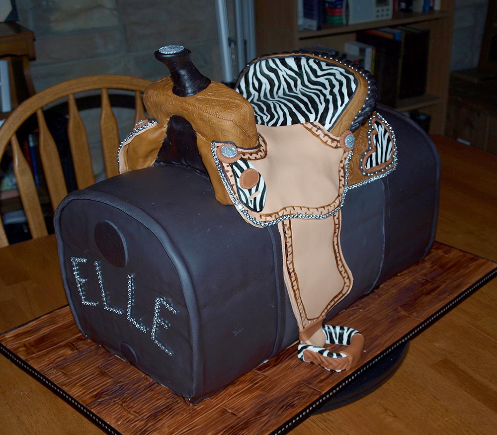 Zebra Saddle Cake Bling Rhinestones Barrel