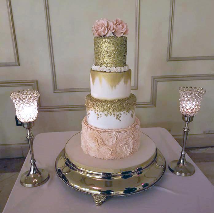 Blush Pink Gold Wedding Cake