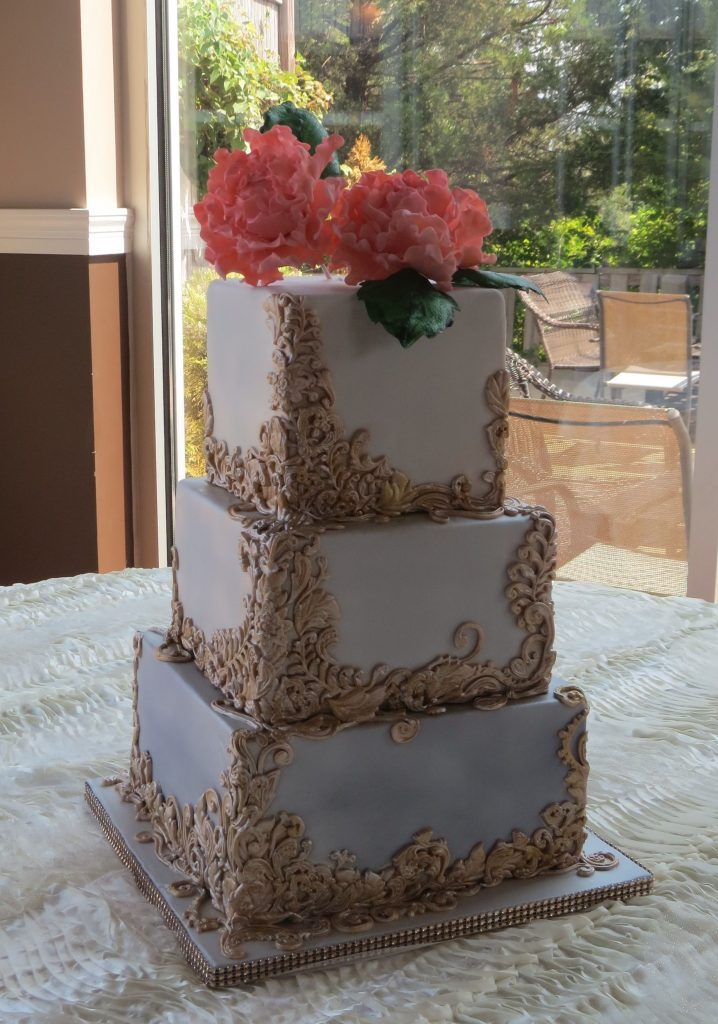Lavendar Ombre Coral Peonies Champagne Gold Square Wedding Cake