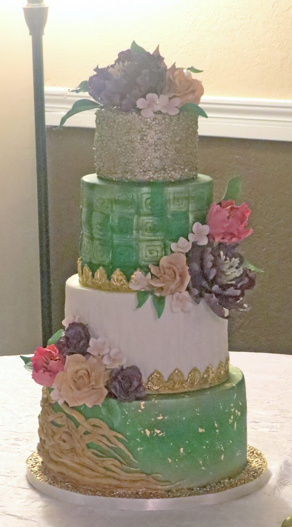 Multicolor Patterned & Roses Wedding Cake