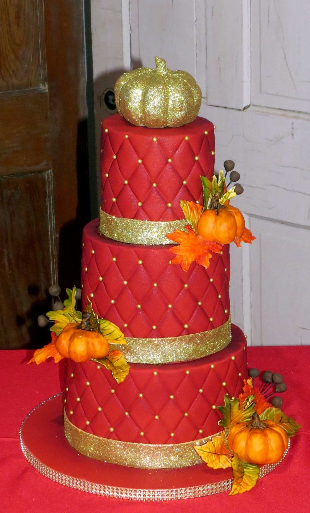 Red Gold Fall Pumpkin Leaves Wedding Cake