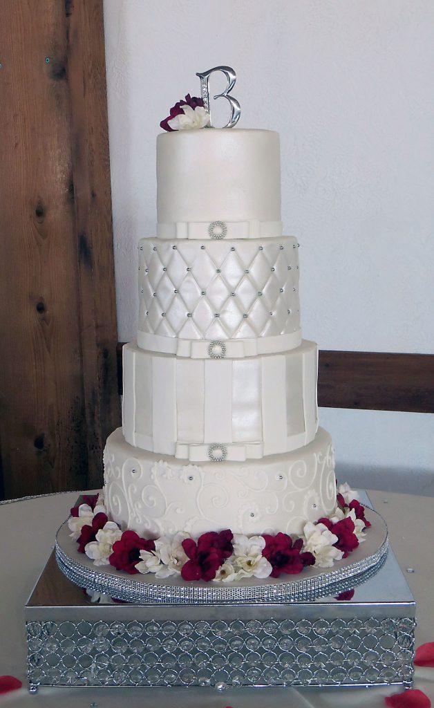 Red & Ivory Shimmer Wedding Cake