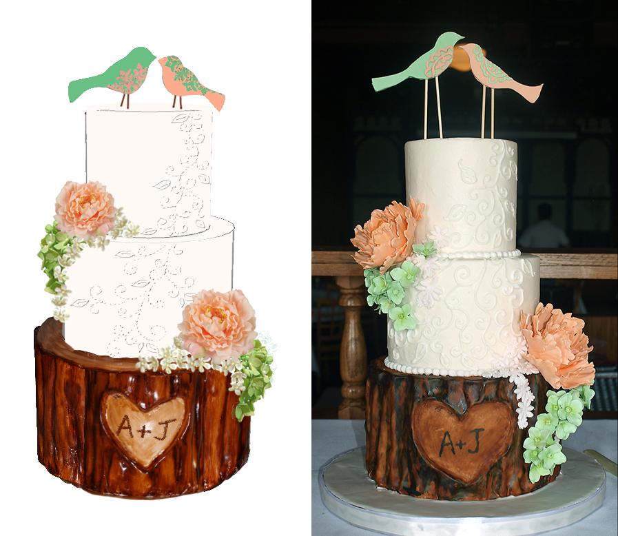 Sketch-vs-Cake Rustic Wedding Cake Peonies Hydrangeas Peach Mint Green Birds