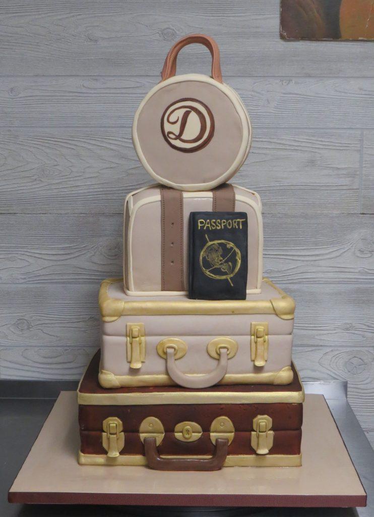 Suitcases Travel Retirement Cake