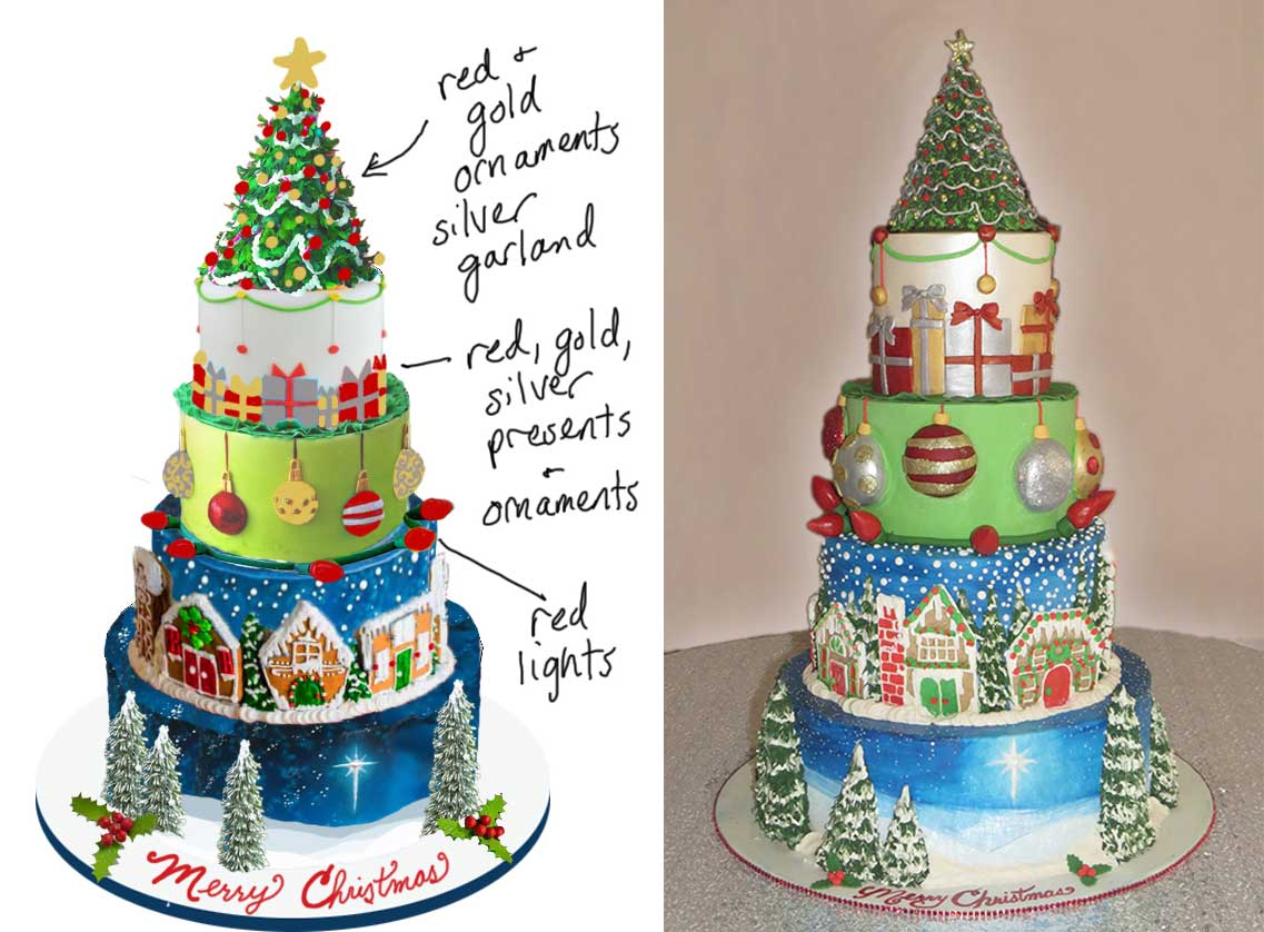 Sketch-vs-Cake Christmas Cake