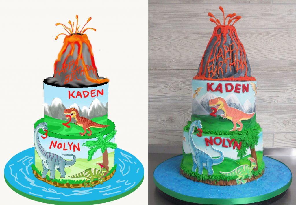 Sketch-vs-Cake Dinosaur Birthday Cake