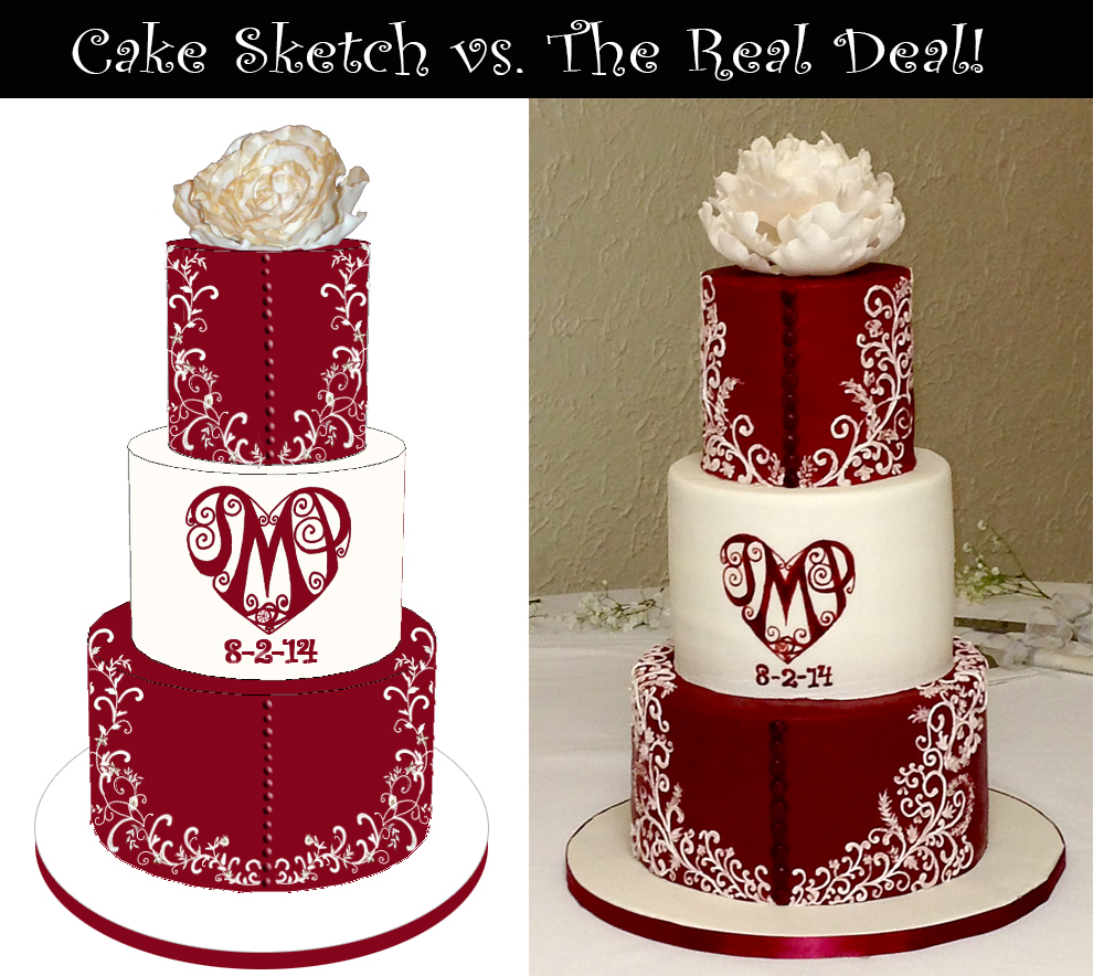 Sketch-vs-Cake Red & White Wedding Dress Inspired Cake