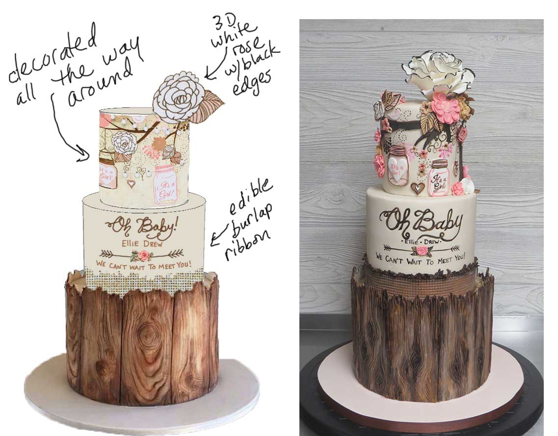 Sketch-vs-Cake Rustic Mason Jar Pink Brown Baby Shower Cake