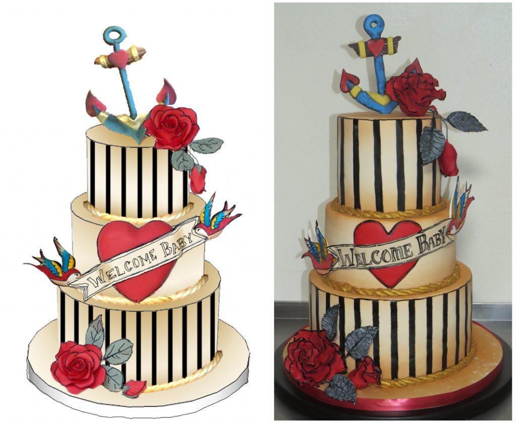 Sailor Jerry Tattoo Shower Cake
