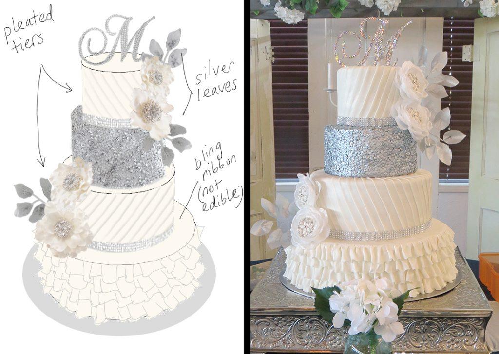 Sketch-vs-Cake Silver White Wedding Cake