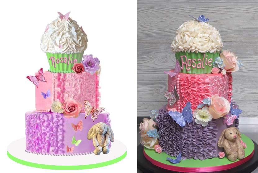 Sketch-vs-Cake Butterflies Flowers Ruffles Pink Purple Cake