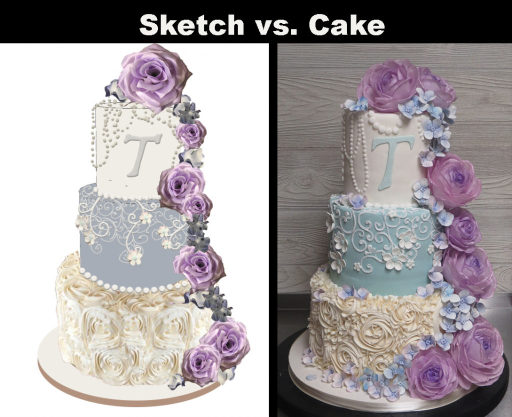 Sketch-vs-Cake Lavender Blue Roses Pearls Lace Cake