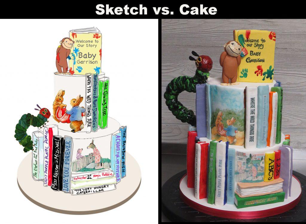 Sketch-vs-Cake Book Shower Cake
