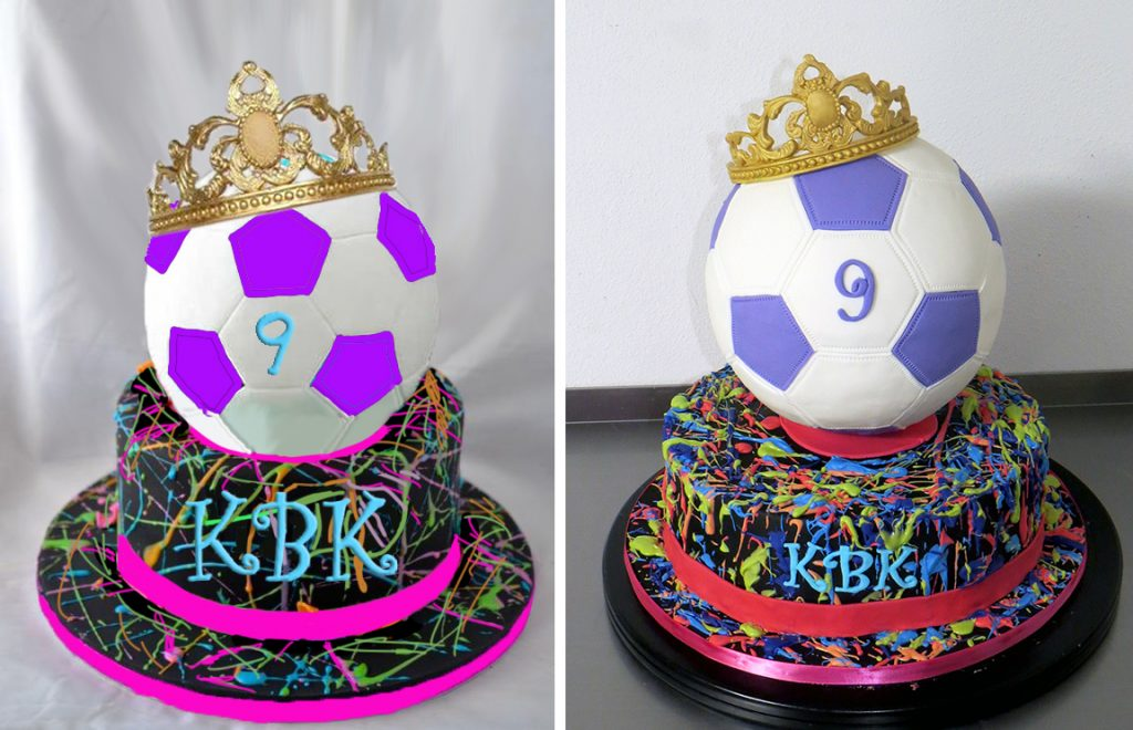 Sketch-vs-Cake Soccer Birthday Cake