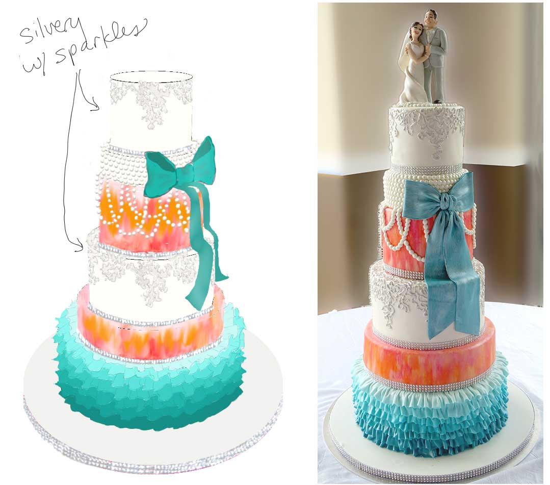 Teal Orange Pink Ruffles Pearls Wedding Cake