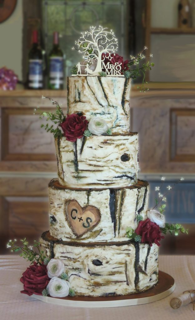 Birch Wood Bark Rustic Wedding Cake
