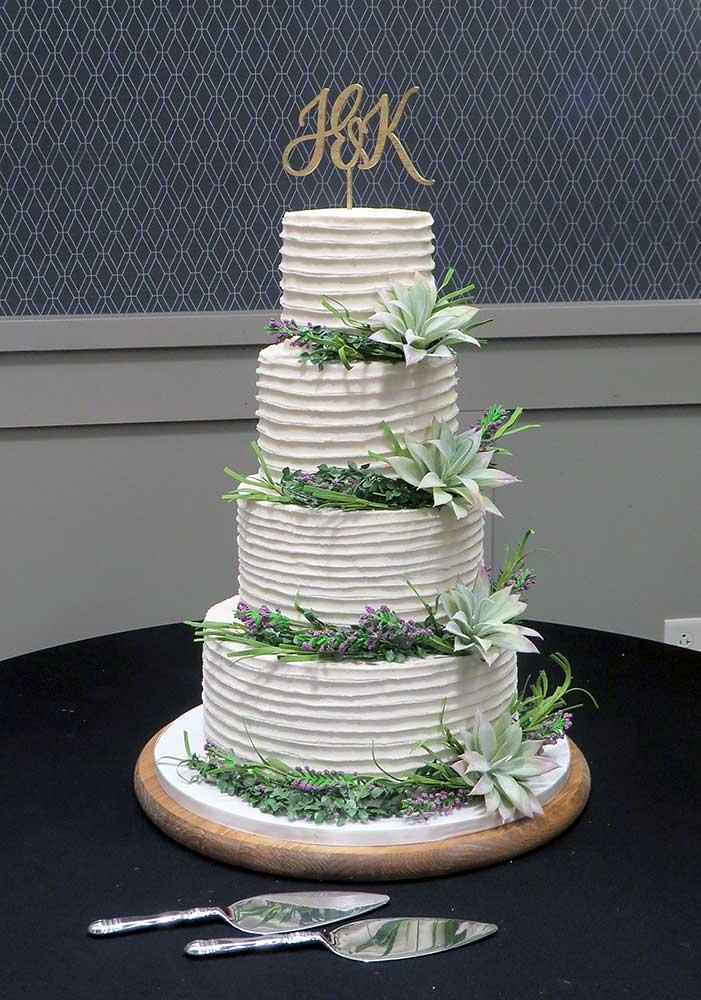 Buttercream Succulents Wedding Cake