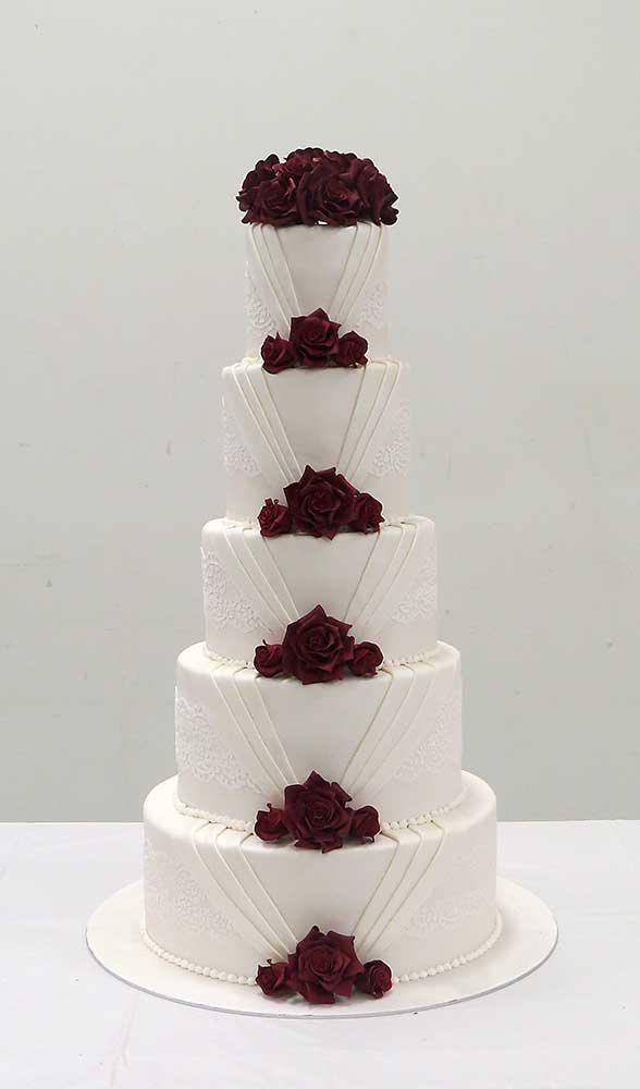 Elegant Lace Marsala Roses Wedding Cake