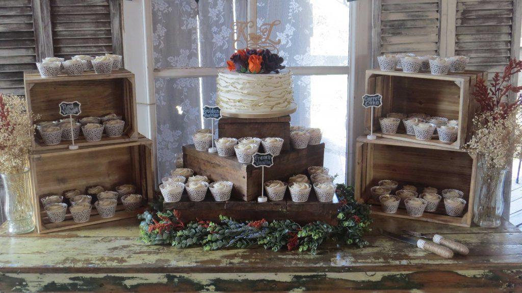 Rustic Country Orange Plum Fall Wedding Cake