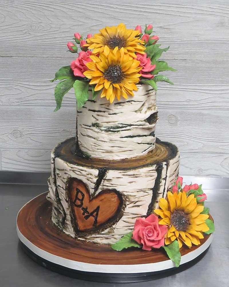 Sunflowers Rustic Tree-Bark Cake