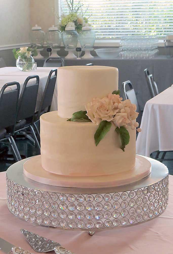 Blush Pink 2-Tier Wedding Cake w Roses