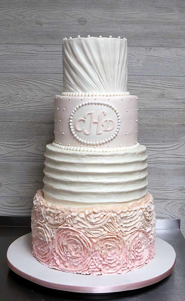 Blush Pink Ivory Wedding Cake