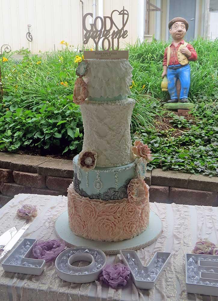 English Garden Ruffles Lace Wedding Cake