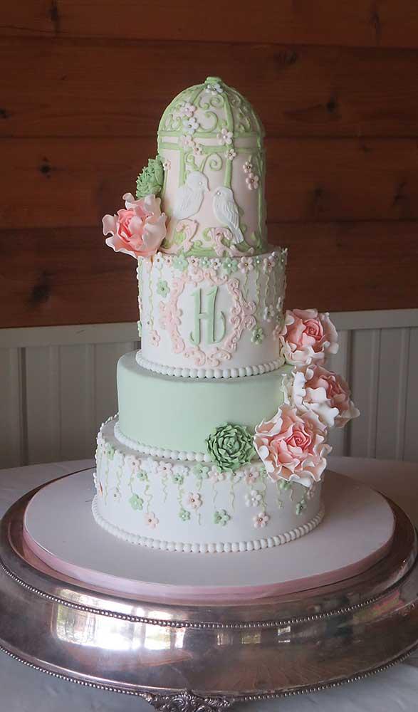 Vintage Green Pink Wedding Cake