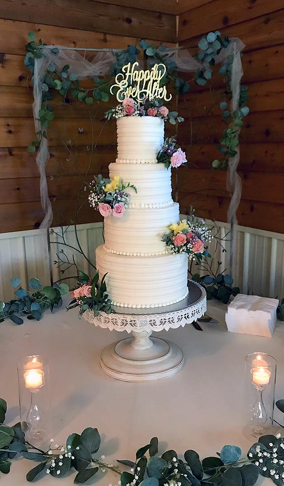 Rustic Buttercream Stripes Wedding Cake