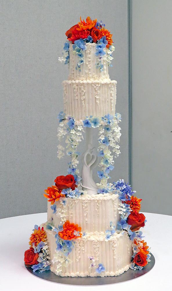 Orange Periwinkle Blue Traditional Wedding Cake