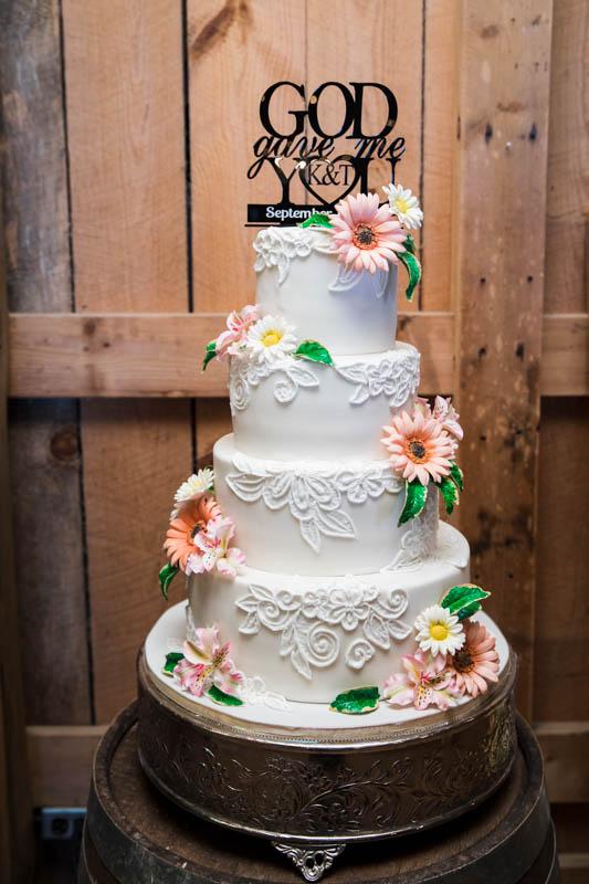 Fondant Wedding Cake w Swirly Pattern & Flowers