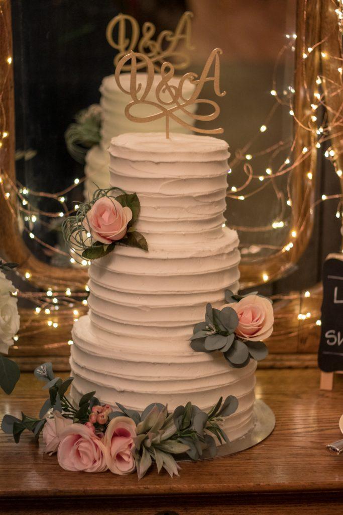 Buttercream and Roses Wedding Cake