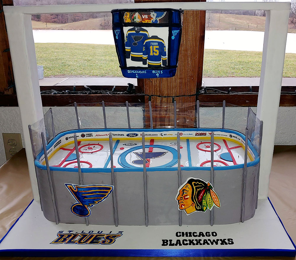 Blues Blackhawks Hockey Rink Cake
