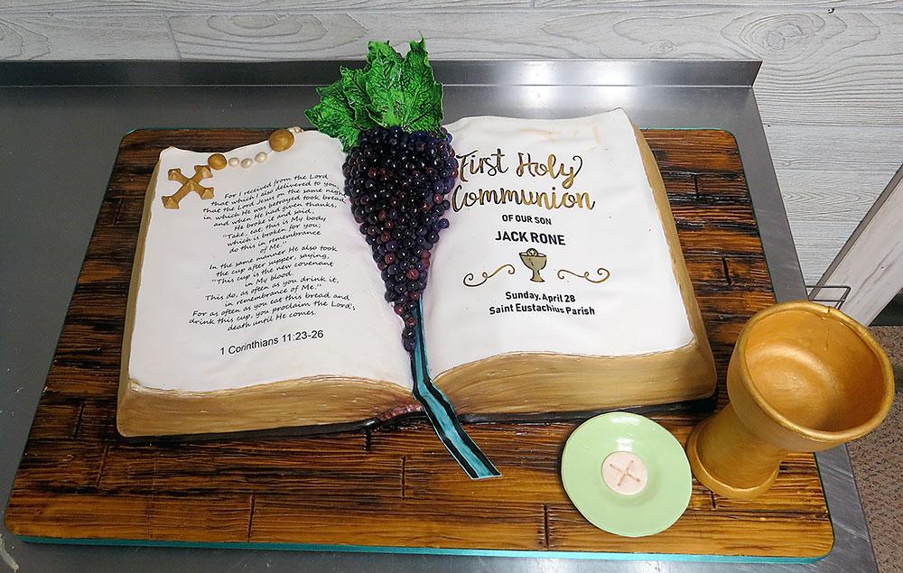 Open Bible First Communion Cake
