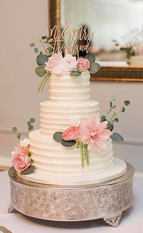 Blush Pink Roses Peonies Wedding Cake