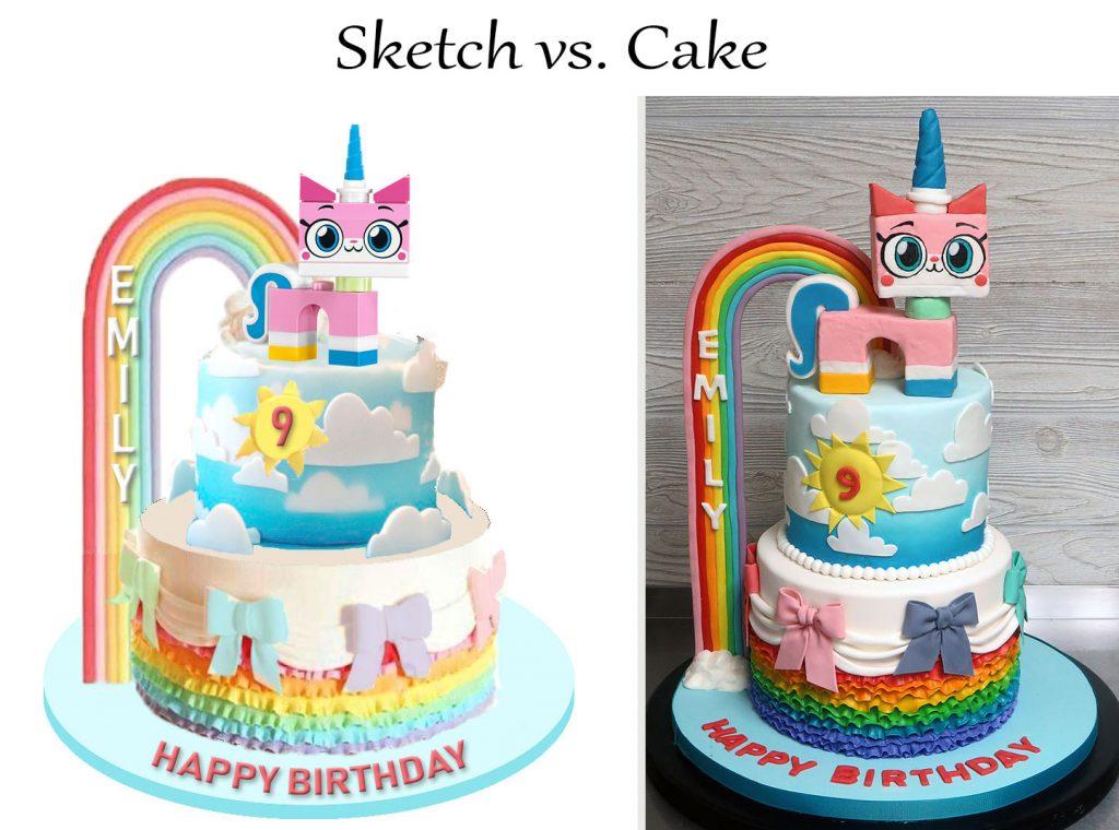 Sketch-vs-Cake Unikitty Rainbow Cake