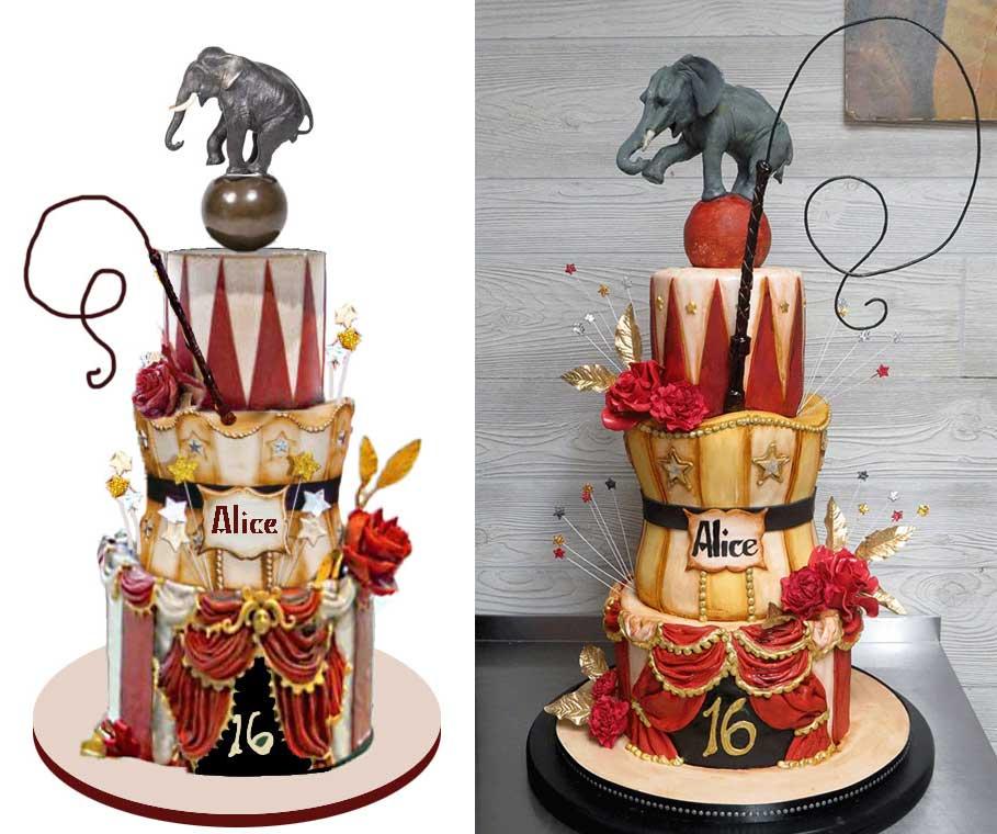 Sketch-vs-Cake 3-D Elephant Topper Circus Themed Cake