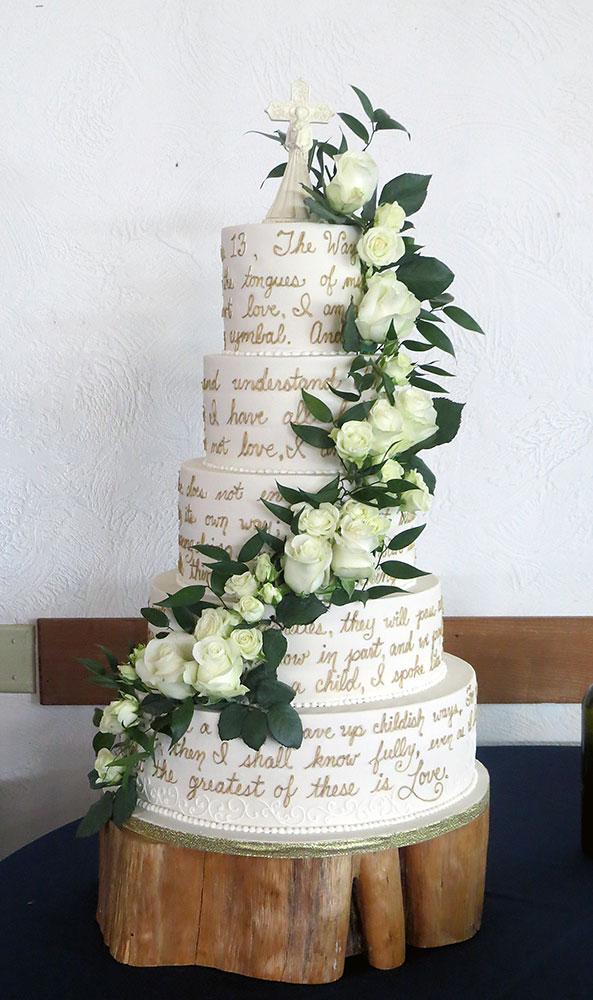 White Roses Greenery Christian Love Wedding Cake