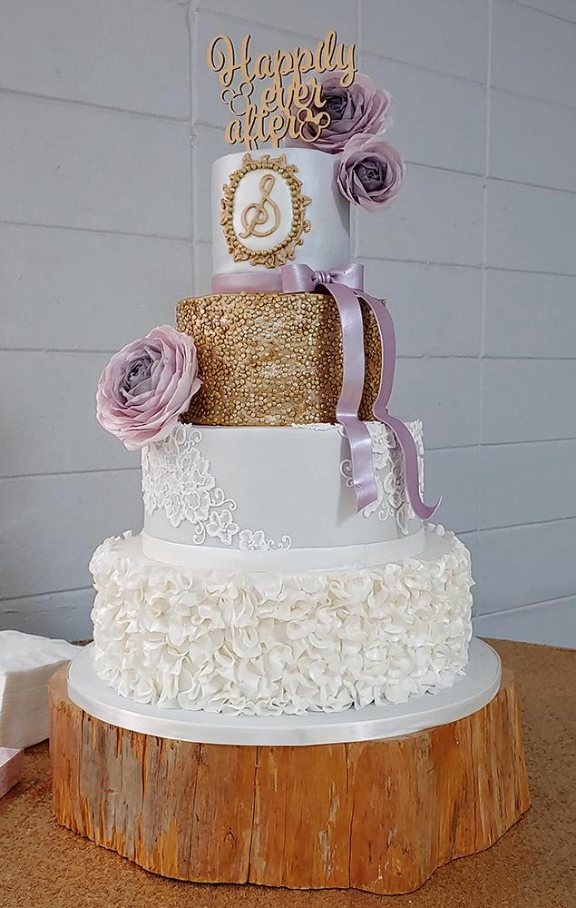 Lavender & Gold Wedding Cake